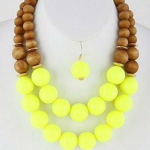 Neon Yellow/ Wooden Necklace